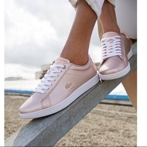 NEW | LACOSTE CARNABY EVO ROSE GOLD SNEAKERS